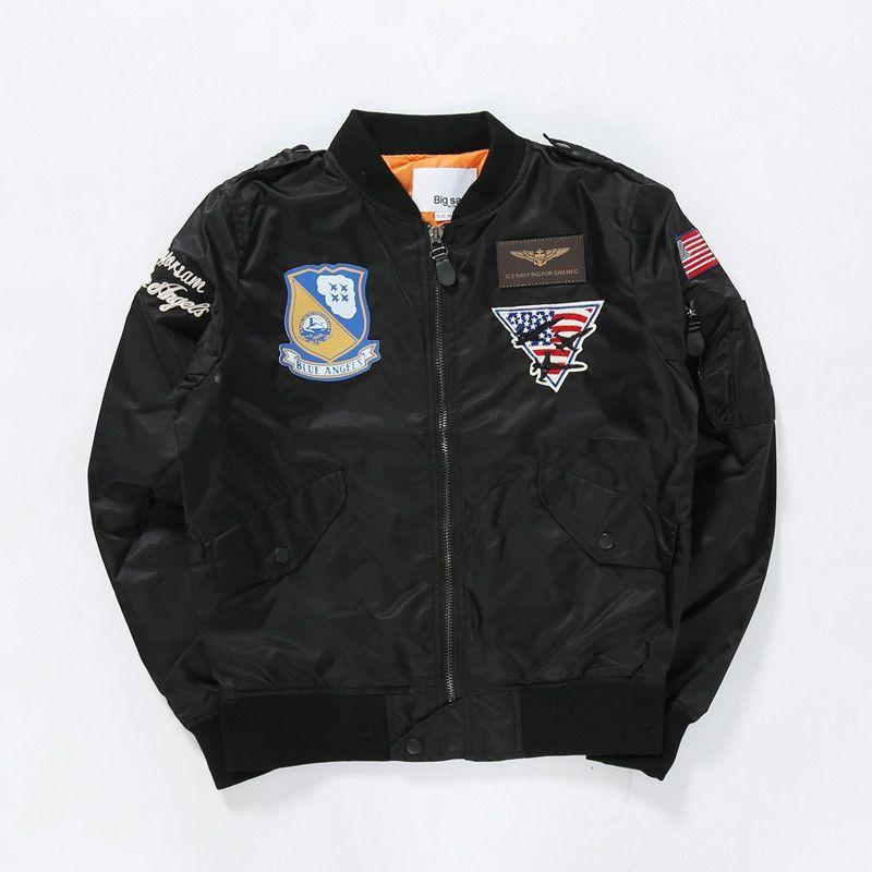 Bombardeiro do exército dos EUA Bandeira Jackets Men Blue Angels Flying Tigers Pilot Coats Windbreaker Hip Hop Homens Pano Dropshipping