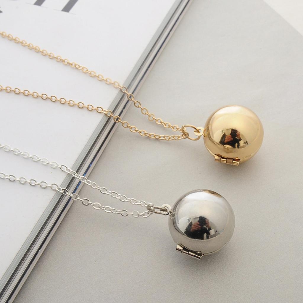 Gioielli Segreto Locket Collana 2x aperta del metallo rotonda pendente della sfera