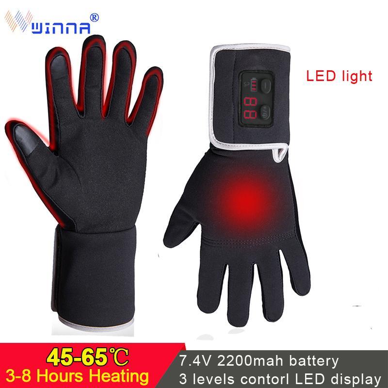 Unisex Electric Warm Heated Glove Waterproof Touch Screen Winter Fishing Skiing