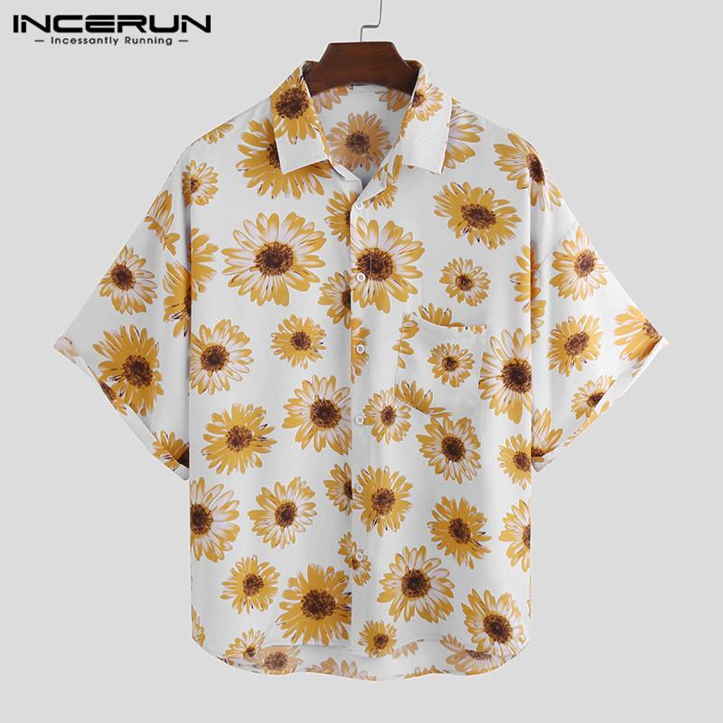 Stampa Fiore Estate hawaiana da uomo manica corta traspirante risvolto 2020 camice di marca per le vacanze Streetwear Beach Camisa INCERUN