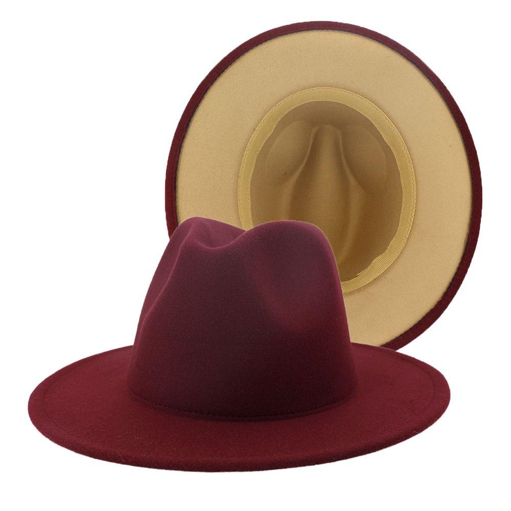 2020 exterior Borgoña Tan remiendo interior de fieltro de lana del jazz del sombrero de ala grande Hombres Mujeres Casual borde del casquillo del sombrero Panamá unisex Gambler