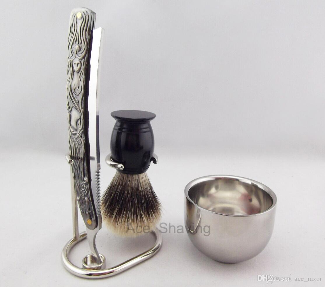 Barber Straight Razor Shaving Set Stand Stainless Steel Cup Acrylic Handle Badger Hair Brush 4 pcs Man Grooming Tool