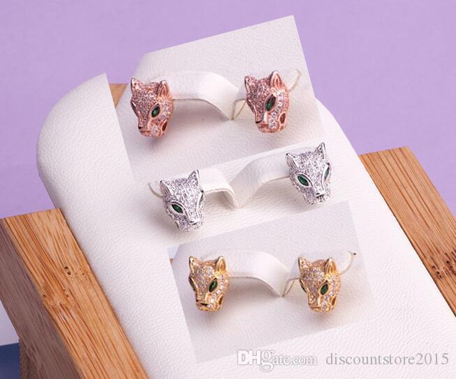 뜨거운 판매 패션 레이디 황동 18 천개 골드 전체 다이아몬드 녹색 눈 표범 머리 약혼 웨딩 925 실버 바늘 스터드 귀걸이 3 색