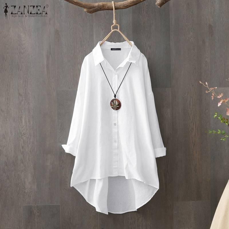 Femmes Tops et Blouses ZANZEA Taille PLUS FEMMES Casual Bureau Chemise de travail Tunique en coton blanc blusas Boutons vers le bas Chemiser Mujer Y200402