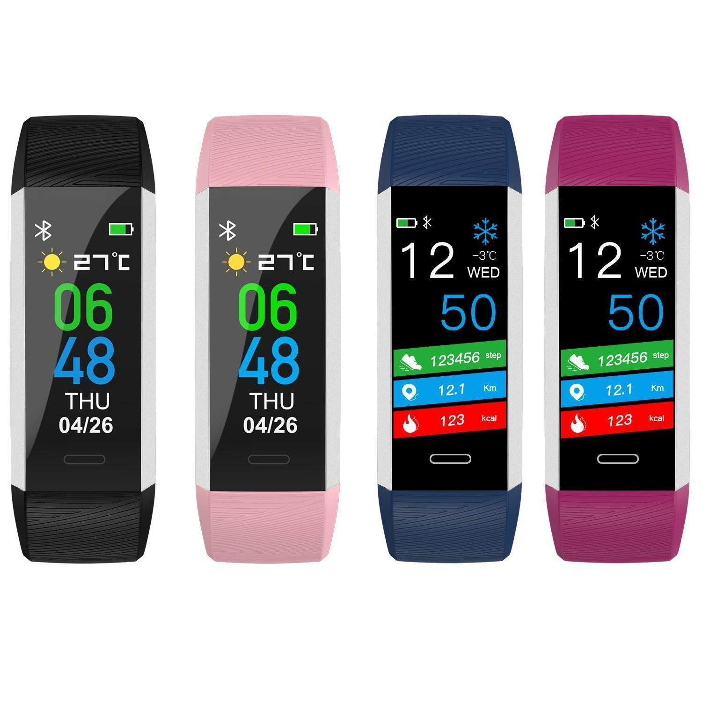 Smart ID115 Fitness Tracker-Körper-Temperatur-Test-Band Bluetooth 4.0 IP67 wasserdichte intelligente Ringe Herzfrequenz Smart Watch für iOS und Android