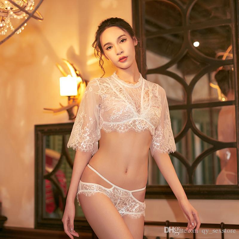 여성 섹시한 란제리 흰색 가슴 거즈 투명 섹시한 의상 섹시한 따뜻한 잠옷 코스프레 이국적인 롭 섹스 제품