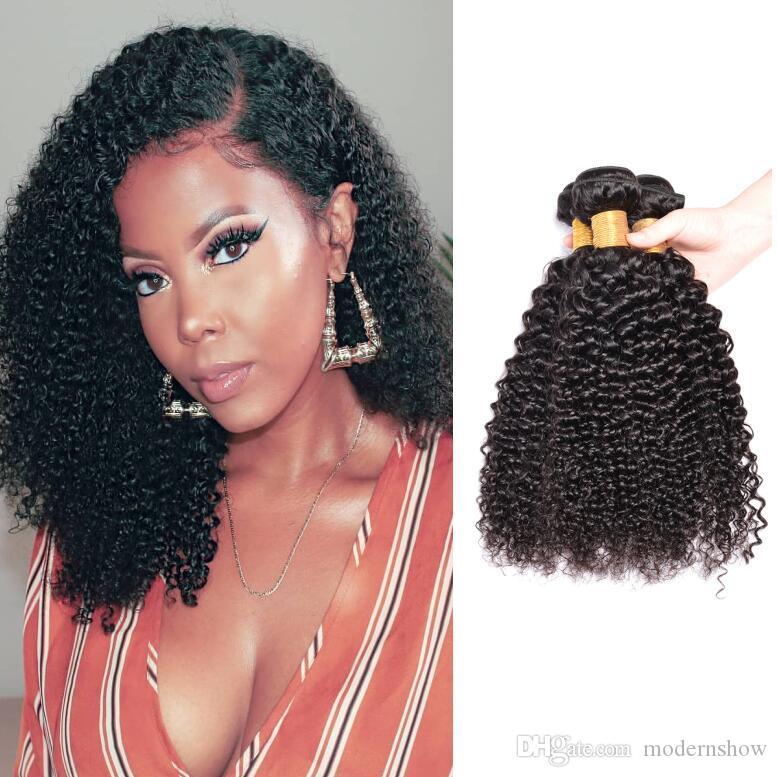 Kinky Brésilien Cheveux Vierge Bundles Brésilien cheveux bouclés 4 faisceaux de cheveux humains Tissages Noir naturel peut-il être teints et délavés
