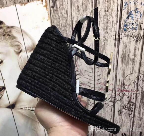 Новая мода Комфортные женские сандалии в 2019 году Наклонный каблук Лента в комбинации Женские босоножки на высоком каблуке размер 35-41
