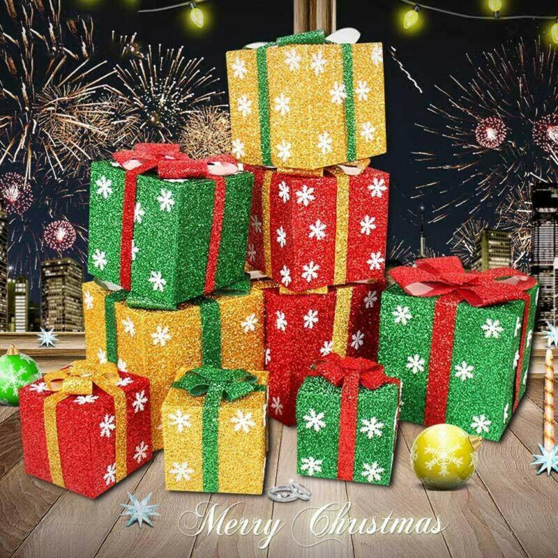 New Christmas Gift Box Ornaments Snowflake Glitter Present Boxes Yard Home Decor Decorative Christmas Balls Decorative Christmas Ornaments From Galry 21 47 Dhgate Com