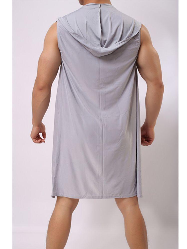 Mens Sleeveless Bathrobe Hooded Kimono Pajama Ice Silk Summer Home Clothes Sexy Nightwear Casual Nylon Spandex Solid Dressing