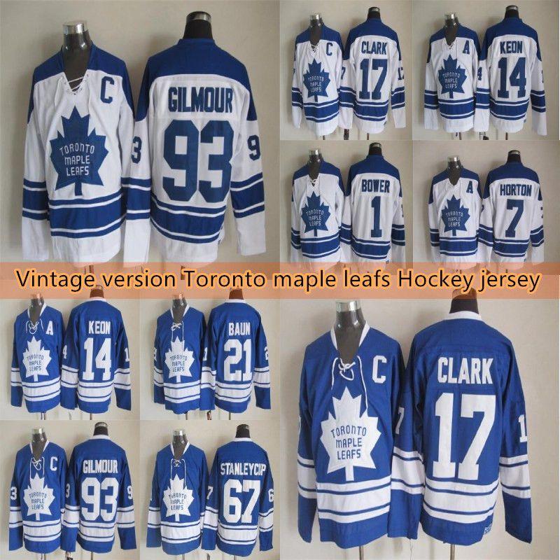 Toronto akçaağaç Vintage versiyon Hokey forması 17 CLARK 93 GILM0UR 7 HORTON 27 Sittler 1 ÇARDAK 14 Keon 21 Baun formaları yapraklar