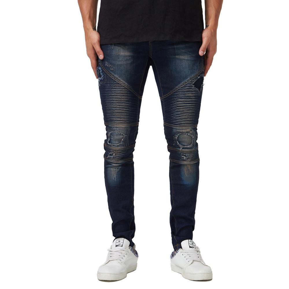 Mens drapierte Designer zerrissene Jeans-Slim Fit Biker Bleistift-Hosen-Frühlings-Herbst-Mode-Hose