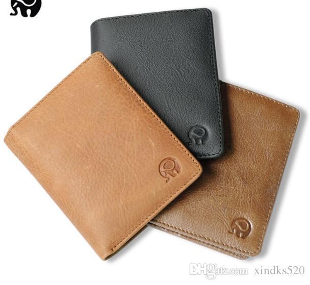 Cuero Pequeña capa de cuero redondas Cabeza corta Cabezas COMBANDO MEJORES TERRATED Wallet Wallet Men's Extranjero Simple 2019 WalletFashion Bolsas JSJWM
