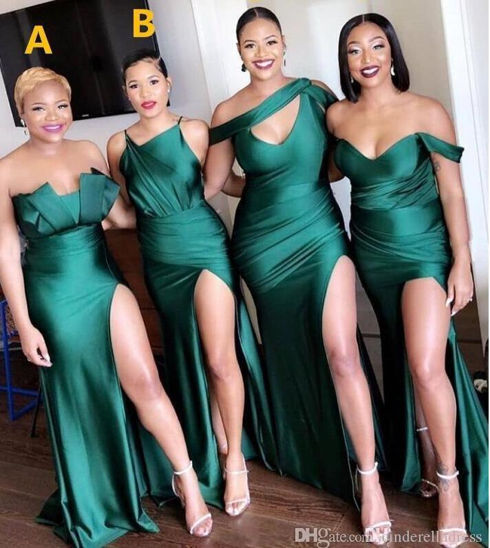 2020 New Turquoise Green Side Split Bridesmaid Dresses Long Maid Of Honor Dress Mermaid Wedding Guest Evening Dress