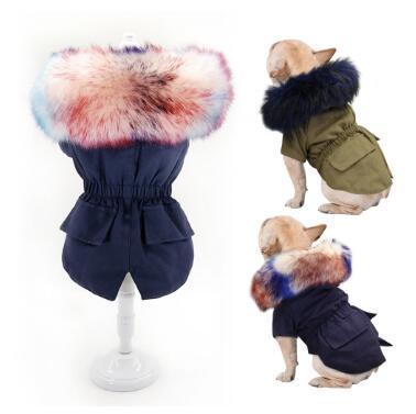 تدفئة شتاء الكلب الملابس الفاخرة الفراء الكلب معطف هوديس سترات لجرو صغير متوسط الكلب صامد للريح الحيوانات الأليفة والملابس الصوف اصطف