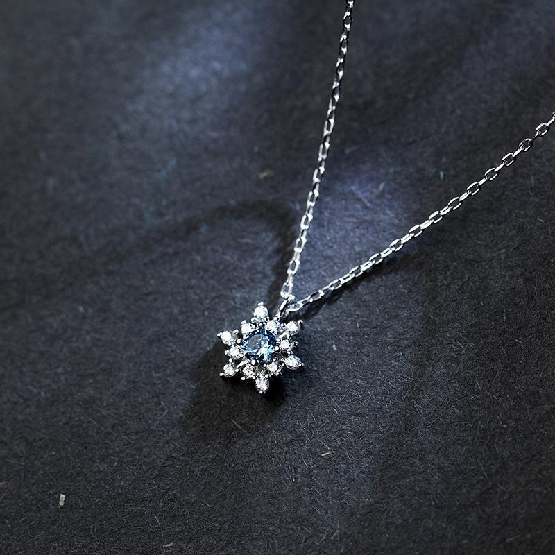 Necklaces Jewelry Gifts Pendants S925 Sterling Silver Rainbow Small Skirt Necklace Color Full Diamond Fan Pendant