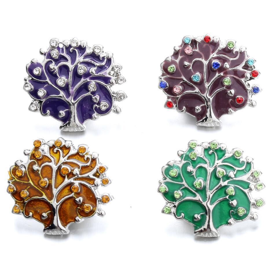 NOOSA Bijoux snap coloré strass Arbre de vie Boutons Encliquetable bouton pression 18mm bijoux bracelet collier