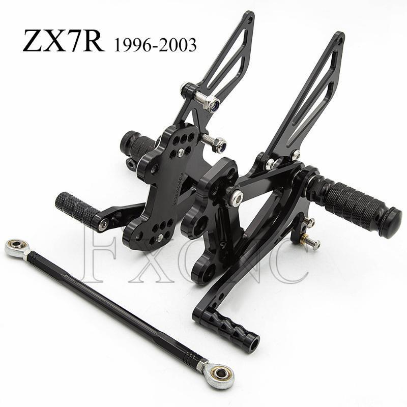 CNC ajustable Rearset Para ZX7R ZX7R ZX 7R 1996-2003 motocicleta clavijas del pie de descanso Estriberas Pedales Estriberas reposapiés ZX7R