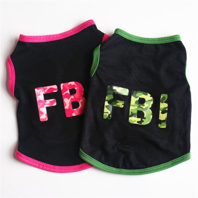 Summer Pet Dog Clothes FBI Camouflage Cotton Cool Dog T-shirt Apparel Pet Vest for Small Dogs Chihuahua Puppy Outfit Costume