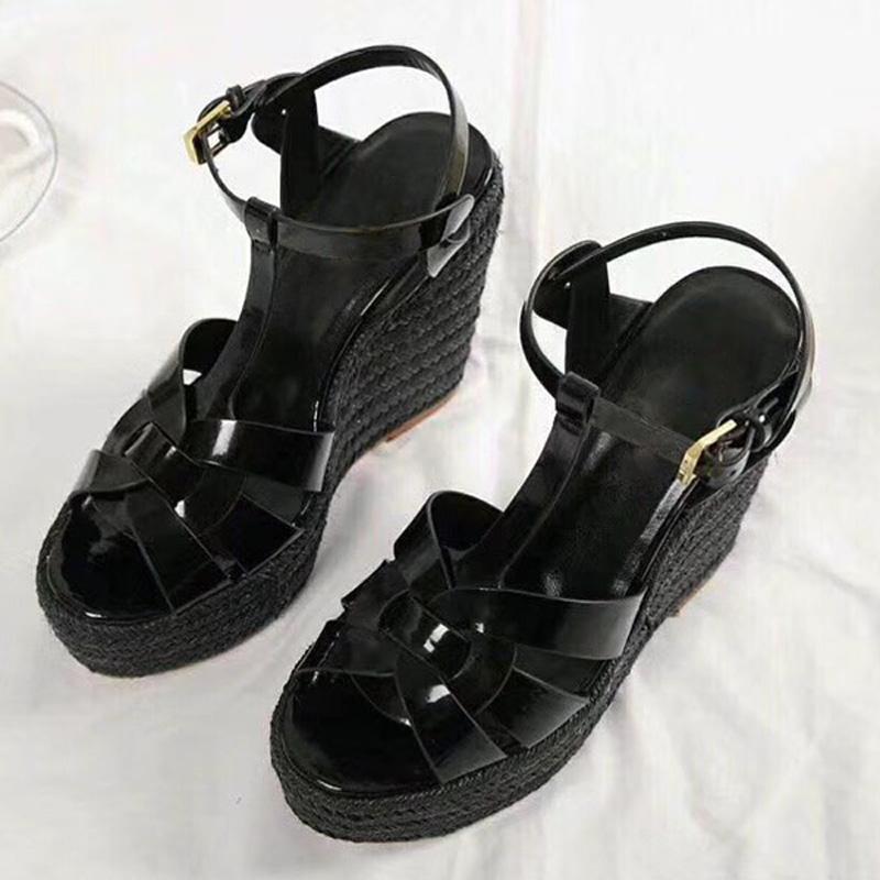 Yaz Kadın Sandalet Ayakkabı Kadınlar Kutusu ile Platform Wedges Topuk Moda Günlük Döngü Bling Yıldız Kalın Sole Kadınlar Ayakkabı