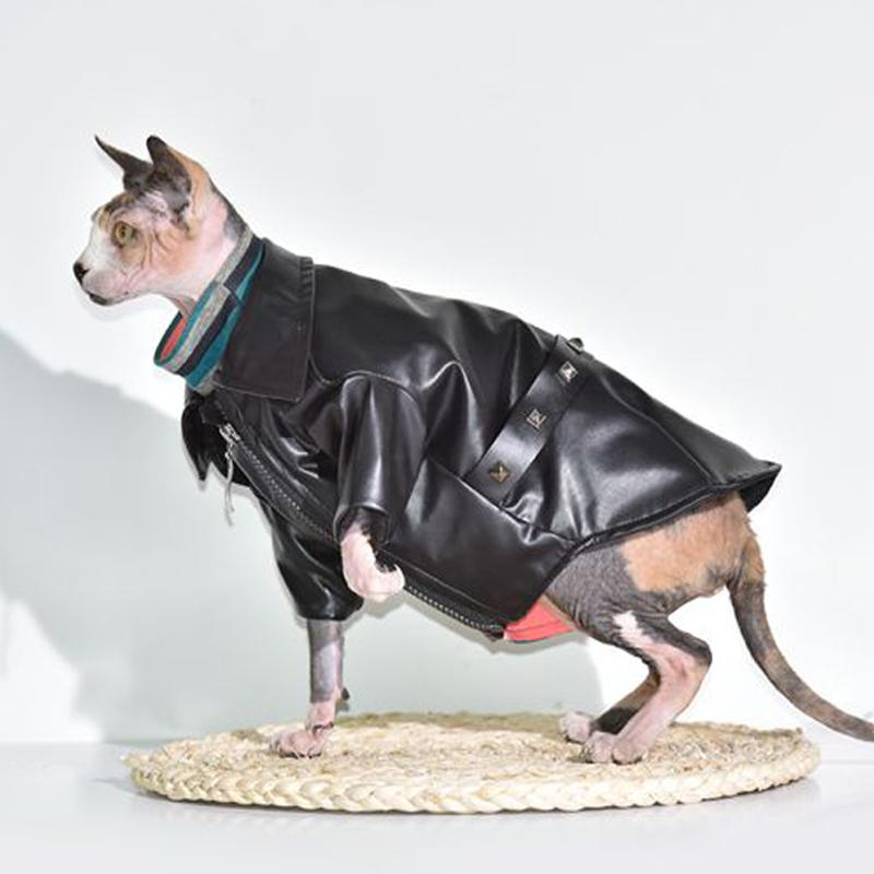 Sphinx hairless cat clothing winter warm leather jacket coat pet clothing new stock Cat Costumes Cat Supplies Pet Supplies