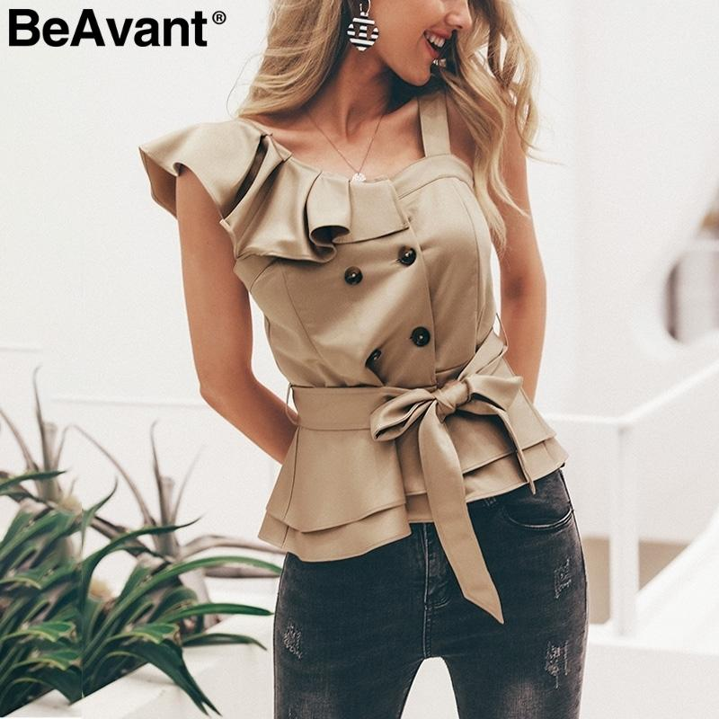Beavant One Shoulder Ruffle Women Blouse 2019 Summer Top Peplum Sash Silk Camisoles Tank Elegant Party Feminine Blouses Blusas C19041101