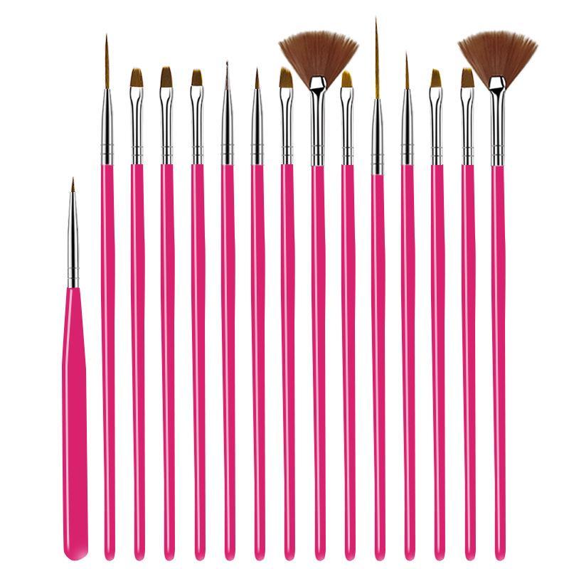 Щеточка для ногтей Для маникюра Gel Nail Art 15Pcs / Set Ombre Кисть для градиентного гель лак для ногтей Картина Drawing 4 цвета