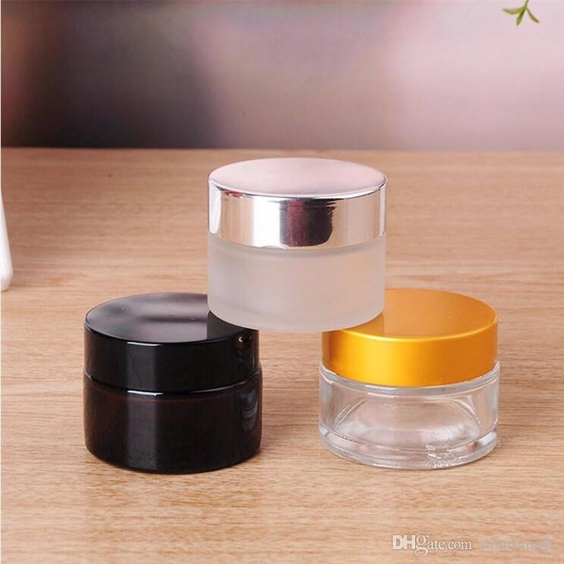 5g / 5ml 10g / 10ml haut de gamme cosmétique Conteneur de stockage Jar visage crème baume à lèvres bocal en verre dépoli pot avec couvercle et pad interne