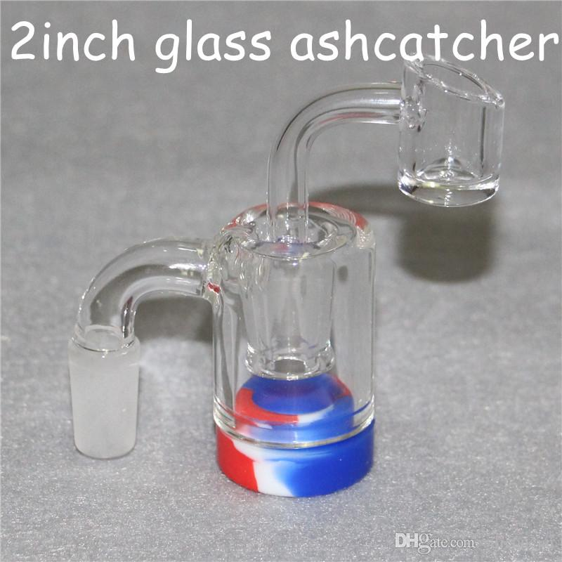Glass Reclaim Ash Catcher with Detachable silicone container for dab oil rig mini 14mm 18mm glass ashcatcher bong and quartz bangers male