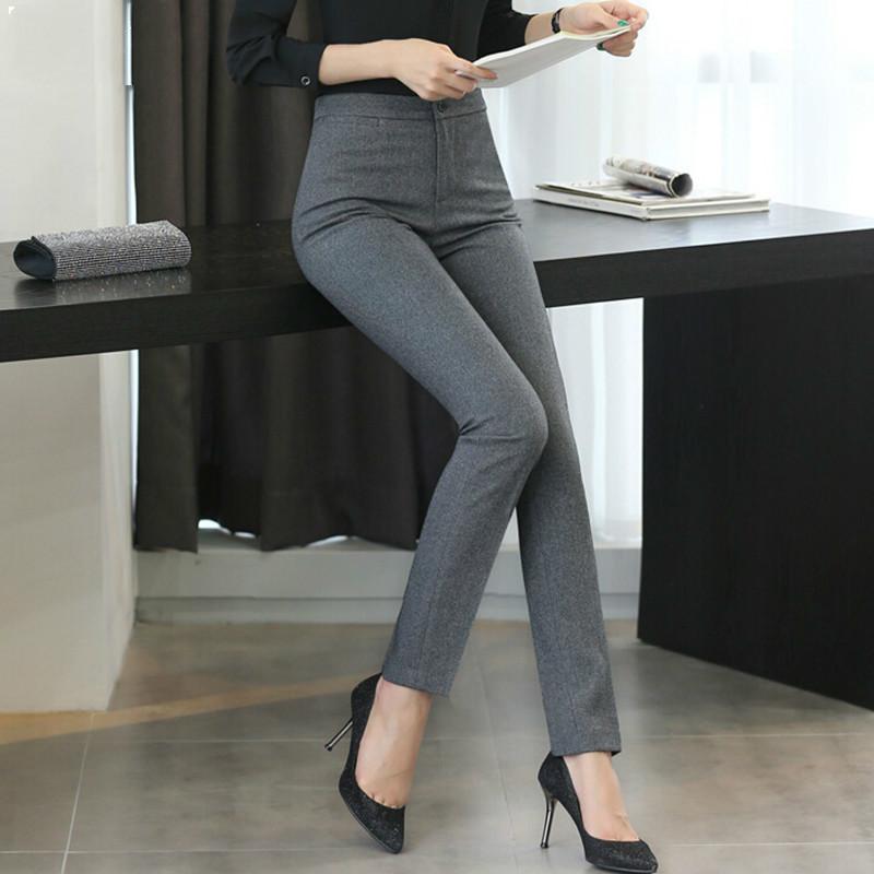 Moda Grande Sol Profissional Primavera New Korea Escritório Feminino Shorts de Médio-tamanho Cinza Calça Escura Spandex Shein Vadim