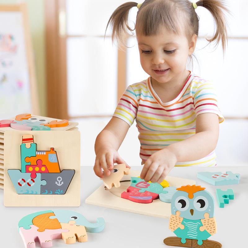 16pcs / Set Juguetes para bebés 3d rompecabezas de madera de la historieta de Inteligencia Animal Niños Educación Rompecabezas Niños Tangram Formas de aprendizaje Jigsaw