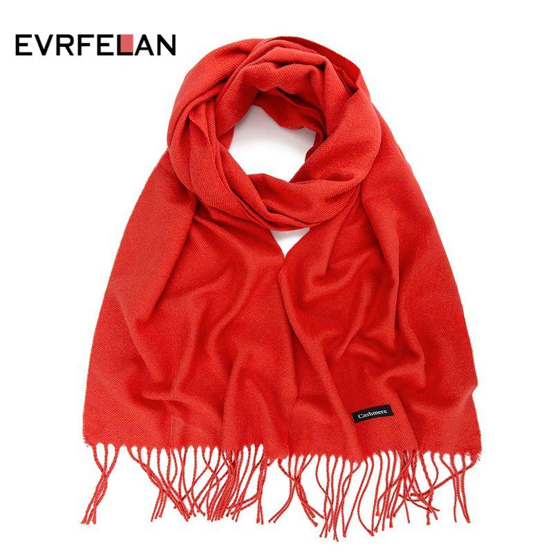 Bufanda caliente grueso Evrfelan las nuevas mujeres de la manera del invierno bufanda larga sólido borla Mujer abrigo del mantón de las señoras de alta calidad