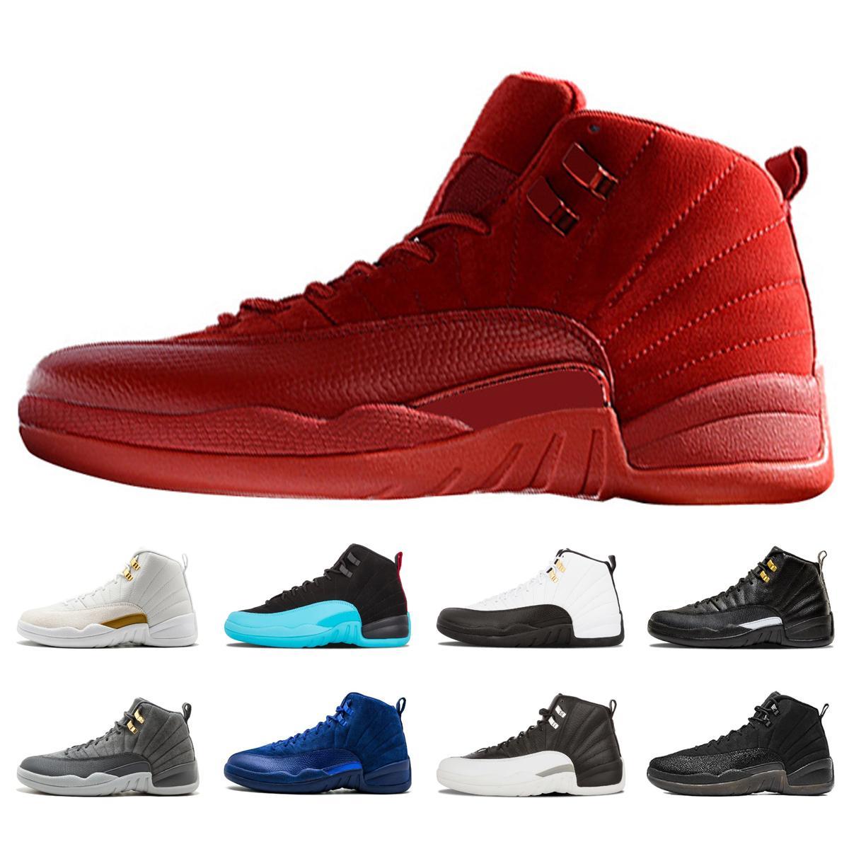 sıcak satış 12 Bordo Koyu Gri Basketbol Ayakkabı Erkekler Spor Ayakkabıları Bordo 12 Spor Spor Antrenörü Yüksek Qaulitys Sneakers boyutu 7-13