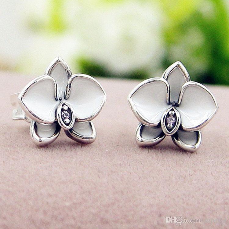 NEW White enamel flowers Stud Earring Original Box set Jewelry for Pandora 925 Sterling Silver Earrings for Women Girls wholesale