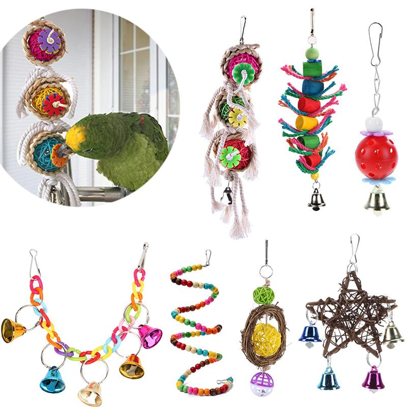 Supplies Bird Toy Cockatiel Parrot Toys Wooden Steel Hanging Bell Cage Toys for Parrots Bird Squirrel Funny Chain Swing Toy Pet