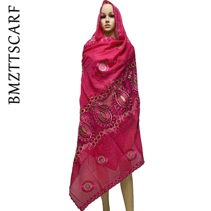 Ultimi donne africane sciarpe sciarpa musulmana del ricamo partita materiale cotone sciarpa grande rete di cotone morbido per scialli BM953