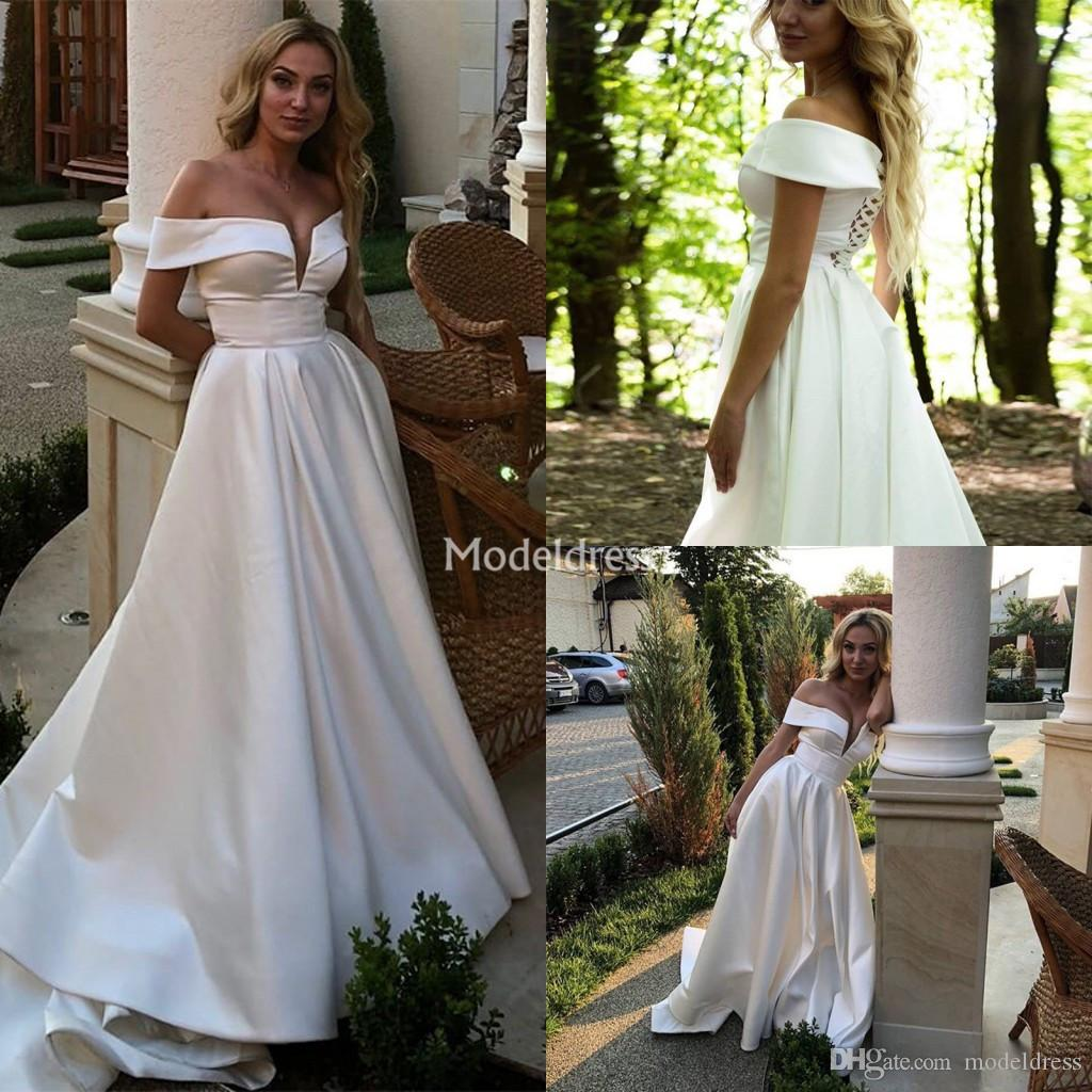 New Stylish Wedding Dresses Off Shoulder A Line Sweep Train Chic Castle Garden Vestidoe De Noiva Plus Size Country Style Church Bridal Gowns