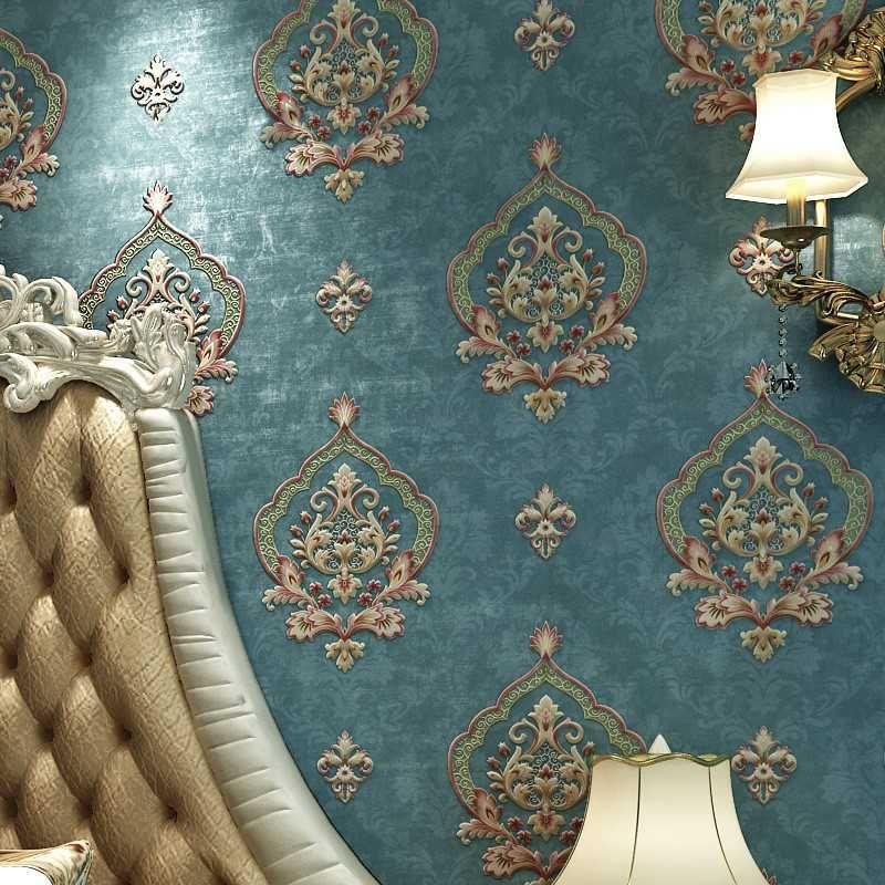 Modern Retro European Style Damask Non-woven Wallpaper 3D Embossed Wall Paper Rolls Bedroom Living Room Sofa TV Background Decor