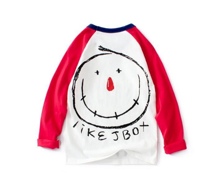 Primavera New Children Abbigliamento per bambini Ragazze T-shirt a maniche lunghe a maniche lunghe Medio e Grandi Bambini Raglan Hit Color Camicia per bambini a maniche lunghe per bambini WY690