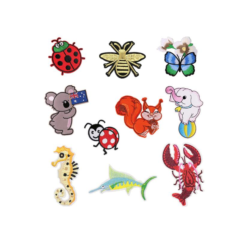 Insects butterfly elephant Embroidery patch koala squirrel lobster cloth Back gum Iron appliques clothing decorative accessories DL_CPIA014
