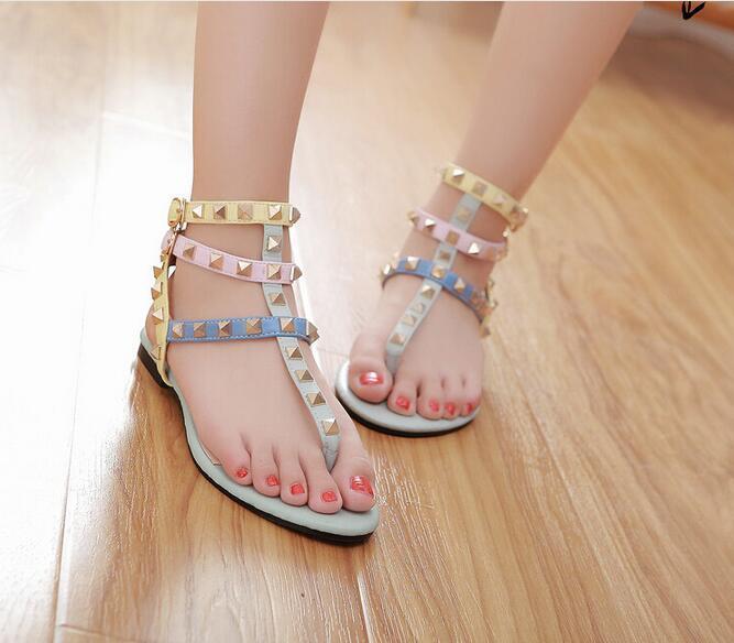 Size 34 45 Rainbow Color Gladiator Sandals Women Designer Brand Rivets Flip Flops T Strap Sandals Ankle Belt Roman Shoes N040 Gladiator Sandals
