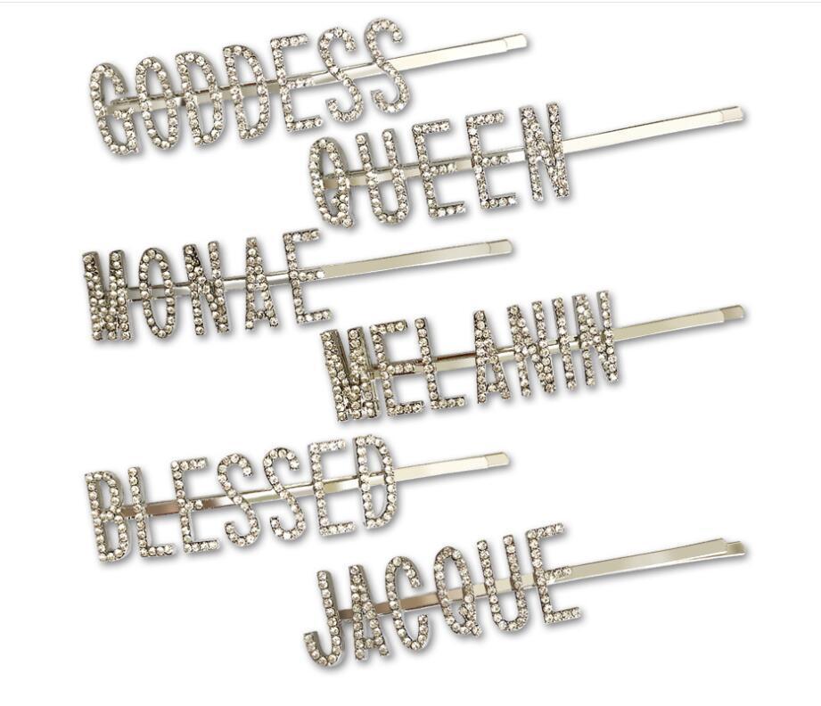 5 adet / Yeni Tokalar Kristal Parlak Rhinestones Kelime Mektupları Saç Klipler Kadınlar Şekillendirme Aracı hairgrip Elmas Saç Aksesuarları Klipler Kelepçe