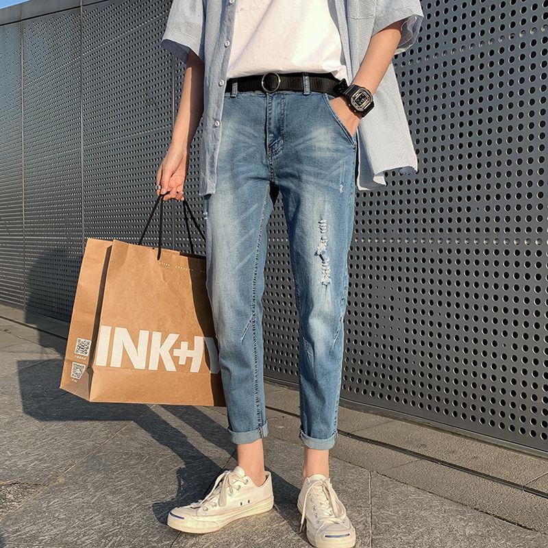 La versione coreana 2020 degli uomini popolari di estate di nuovo giovani del solido sottile colore Large Size Jeans Fashion Casual Piedi Pantaloni Blue Sky