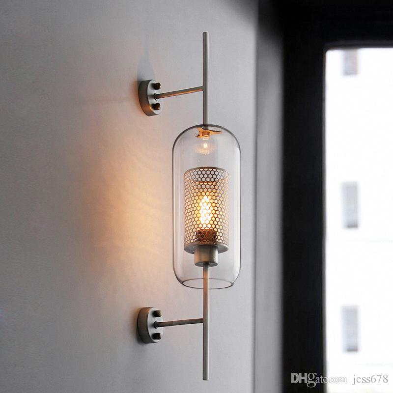Moderne Verre clair Ombre scones mur Lampes pour Chambre chevets Étude restaurant Hanging lumières Loft Retro fer NET Fixture