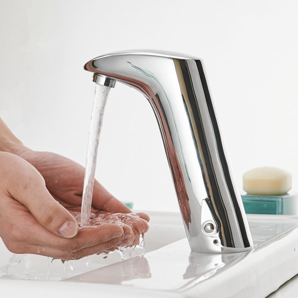 Faucet Sensor Bathroom Automatic Hands Touch Water Saving Inductive Electric Water Tap Battery Power Basin Faucets