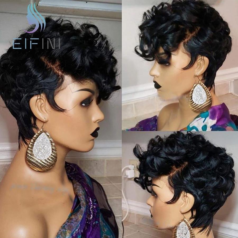 13x6 Bouncy Kıvırcık Pixie Cut Short İnsan Saç Bob Peruk% 150 Yoğunluk Tutkalsız Perulu Remy Dantel Açık Peruk Öncesi Mızraplı İçin Kadınlar
