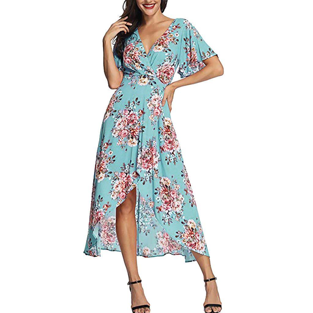 Vacation Bohemian Dress Women V Neck Short Sleeve Split Wrap Beach Dresses 2019 Summer Floral Print Long Dress #EP
