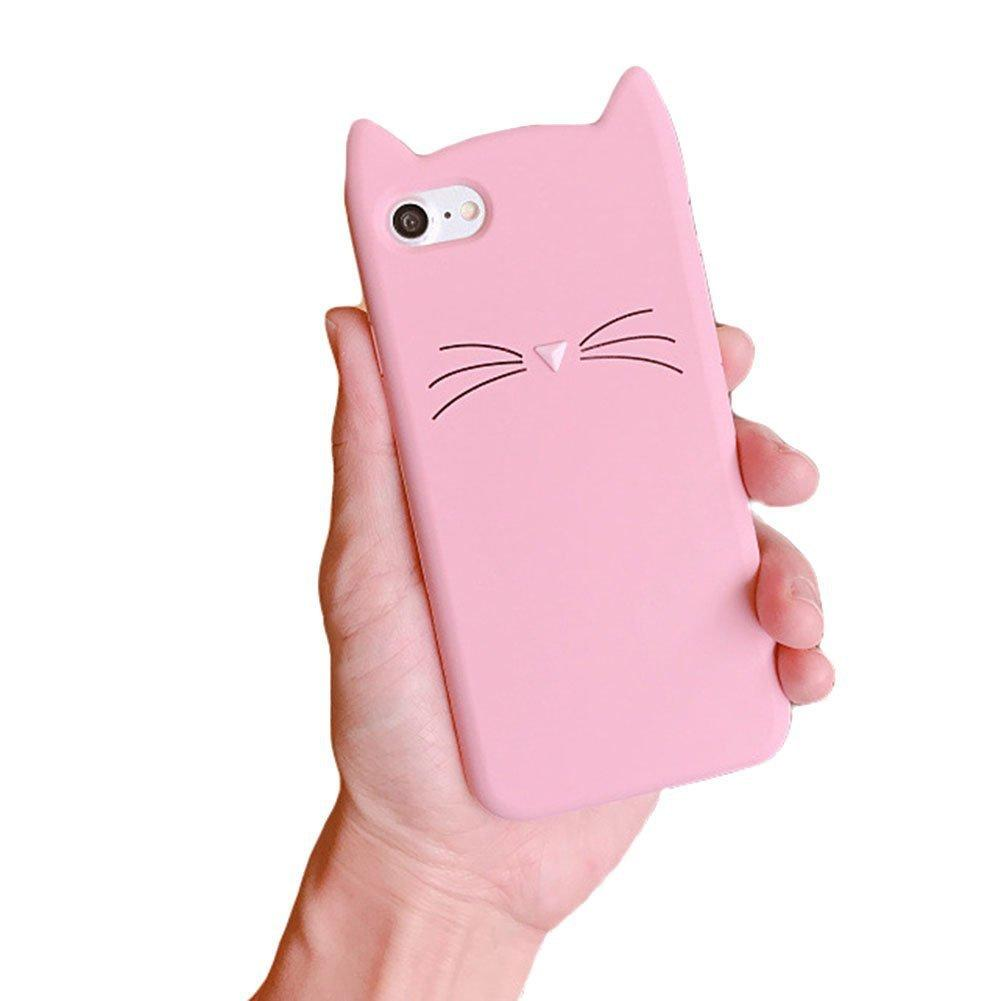 For iPhone XR XS MAX Cute 3D Silicone Cartoon Cat Pink Black Glitter Soft Phone Case Cover for Iphone X 6 7 8 Plus 5 5S SE Shell Cases