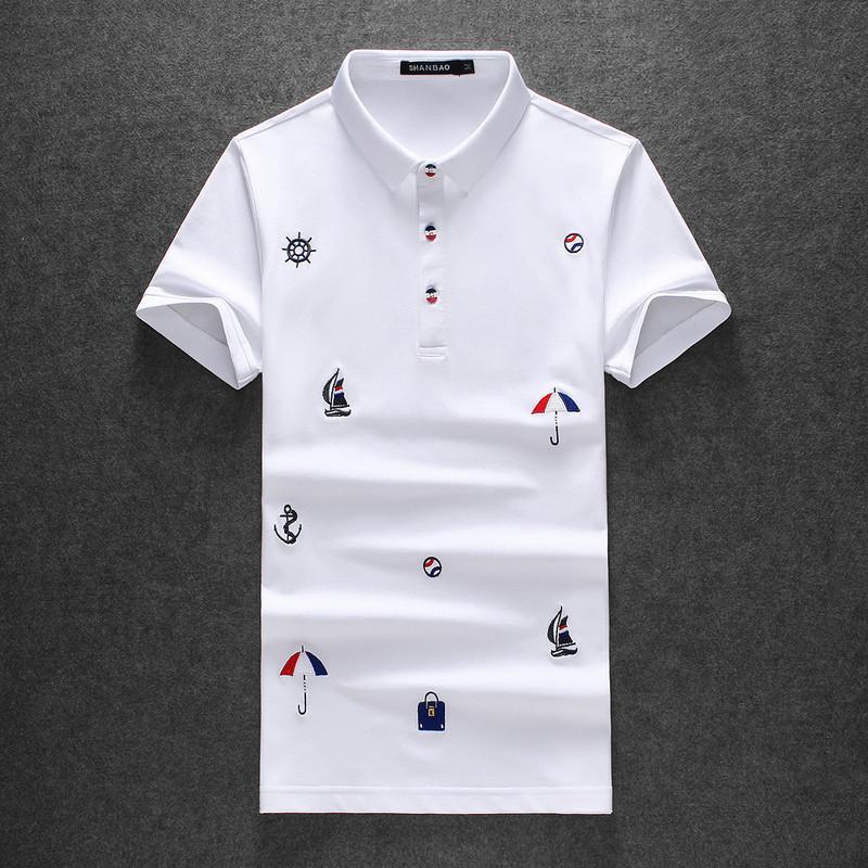 2020 Pearl хлопок с коротким рукавом рубашки поло отворот молодежь вышитой случайных футболок мужской одеждой UER1