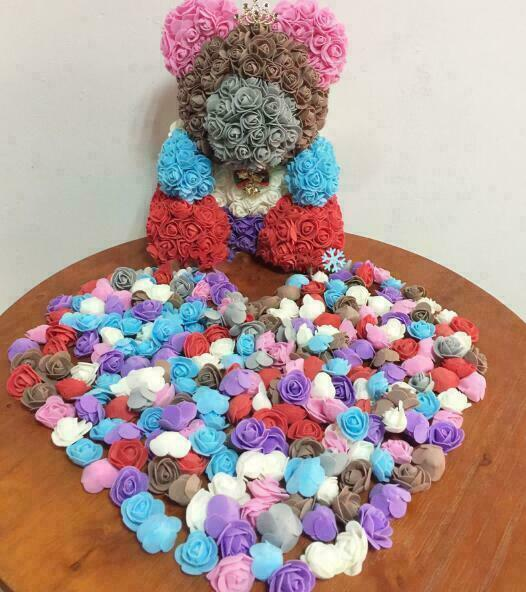 500 pcs 3cm PE espuma gaze rosa flor cabeça diy handmade casamento festa casa decoração banquet decoração de aniversário